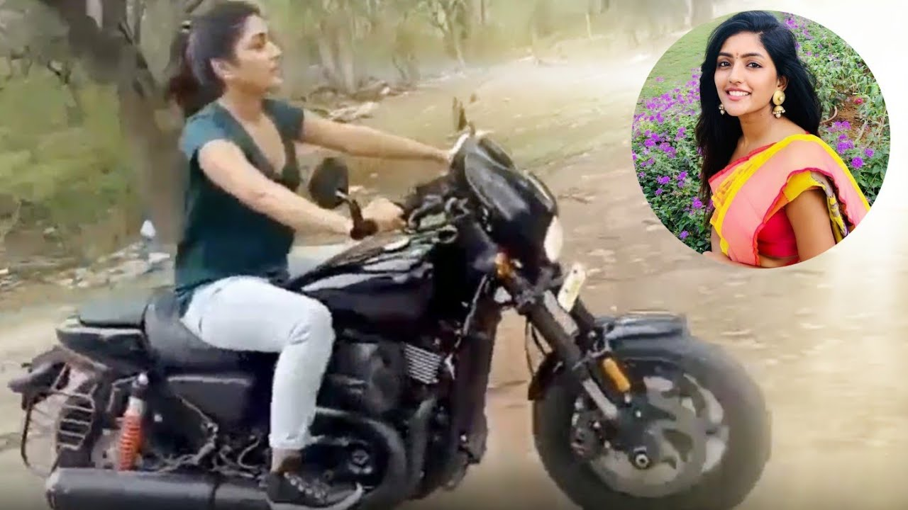 Actress Eesha Rebba Riding Harley Davidson Bike